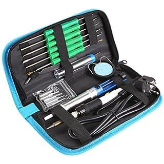 FIXKIT 60W 17pcs Electric Soldering Iron Kit,Welding Irons Tool, include Soldering Iron Gun, Solder Sucker Iron Tips Kit Aid Tools for Various Circuit Design and Repair