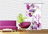 AG Design – Gardine – Vorhang – Fotogardine - Blumen - 140 x 245 cm – 1 Teil - FCSL 7523