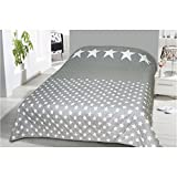 Tagesdecke in vielen Designs, gesteppter Bett- und Sofaüberwurf XXL ( 220x240cm - Sterne dunkelgrau )