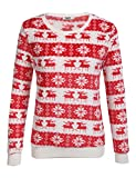 Parabler Damen Weihnachtspullover Strickpullover Gedrukt Streifenpullover Rundhals Sweatshirt Oberteil Pullover mit weihnachtlichem Rentier-Motiv (Blumen 3, EU 42/ XL)