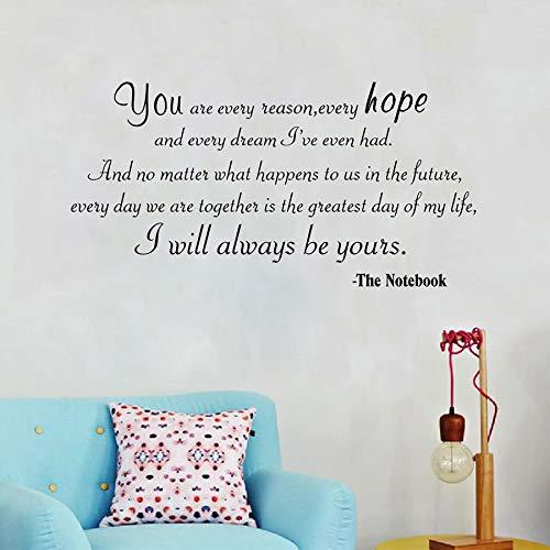 Apliques Siempre seré tuyo Cotizaciones de amor Vinilo Etiqueta de la pared Motivación diciendo Wall Art Decals Para la decoración del dormitorio en casa XCM