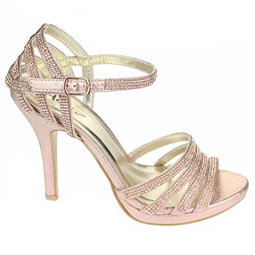 Aarz Frauen-Dame-Abend-Party-Hochzeit Prom High Heel Diamante Braut Sandelholz-Schuh-Größe (Gold, Silber, Schwarz, Champagner, Rot) Champagner