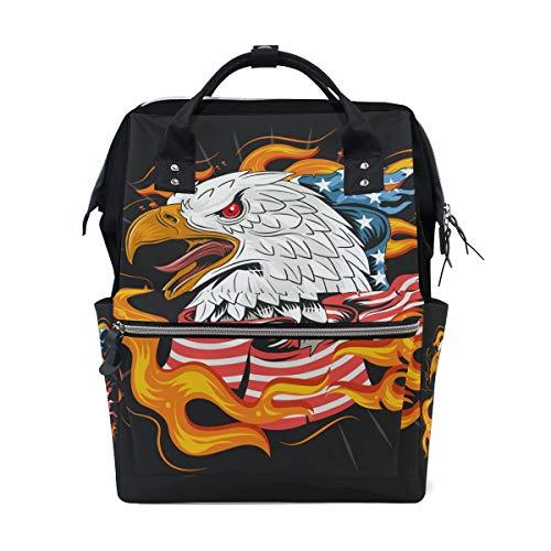 American Flag Bald Eagle Fire Schulrucksack mit großer Kapazität für Mumien-Taschen Laptop Handtasche Casual Reiserucksack Schulranzen für Damen Herren Erwachsene Teenager Kinder (Eagle Geldbeutel American)