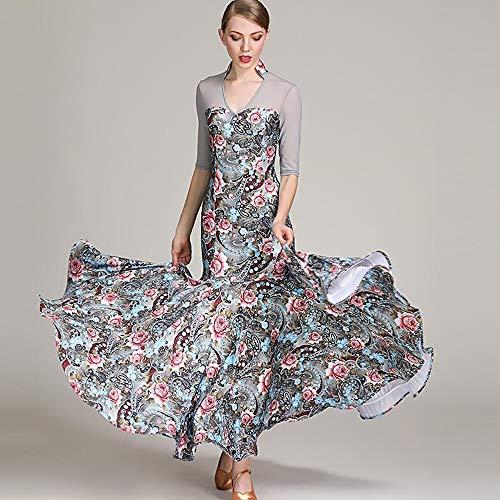 CPDZ Frauen Latein Dance Kleid floralen Drucken floralen Net Garn Top Social Dance Rock Belly Dance Kostüm voluminösen Rock große Größe XL ()