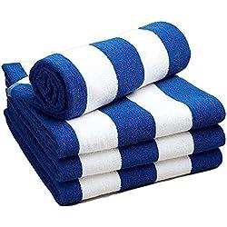 Toalla para playa o piscina Lino Galaxy diseño de rayas azul y blanco, resistente al cloro, 70 x 150 cm, 420 g, pack de 1