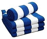 Linen Galaxy Chlorbeständiges Strandhandtuch, blau-weiß-gestreift, 70 x 150 cm, 420 G/m², 2er-Packung