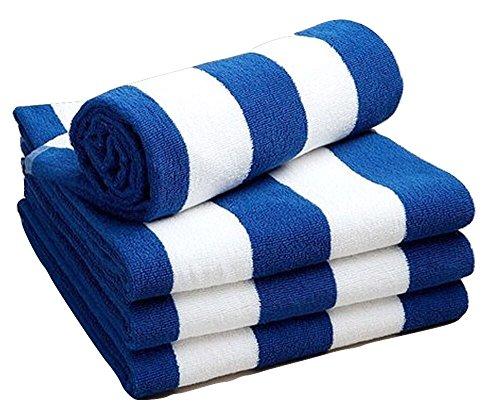 Toallas para de playa y piscina, de Sunshine Comforts, resistentes al cloro, a rayas blancas y azules, disponible en paquetes de 1, 2, 3 y 4 unidades, 100% algodón, Blue & White Stripes, Pack de 2