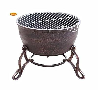 Gardeco Elidir Cast Iron Fire Pit, Bronze, 45 x 45 x 47.5 cm