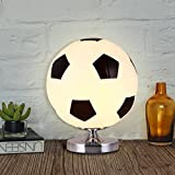 Boys Creative Dimmable Led Football Basketball Glass Ball Table Lamp Bedside Lamp Children'S Room Writing Reading Lamps , Black