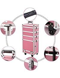 Yaheetech Make-up Friseur Kosmetik Rollkoffer Kosmetik Beauty-Rollwagen Box aus Aluminium Eitel Schönheitkoffer