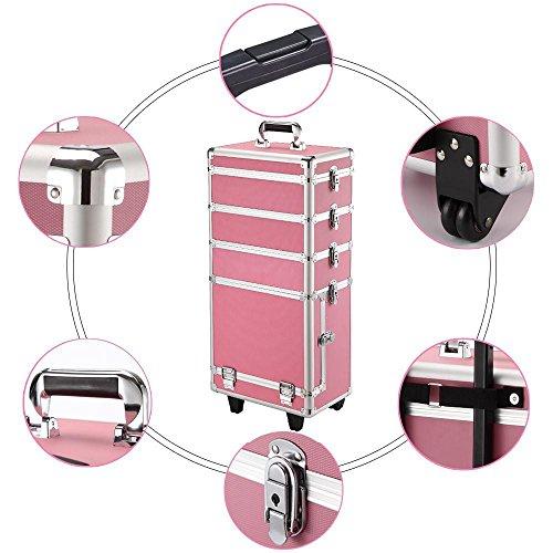 Yaheetech Pilotenkoffer Friseurkoffer Beautycase Schminkkoffer Kosmetikkoffer Trolley aus Aluminium 4 in 1, 73x 34 x 21 cm Pink