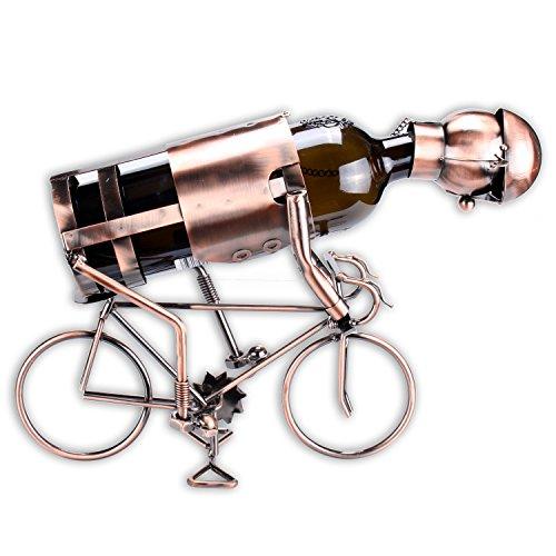 Weinflaschenhalter Modell 'Radfahrer' in edler Kupferoptik