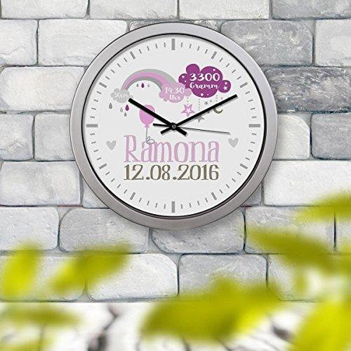 Kinderuhr Kinderzimmeruhr Wanduhr Geburtsuhr Uhr Ramona