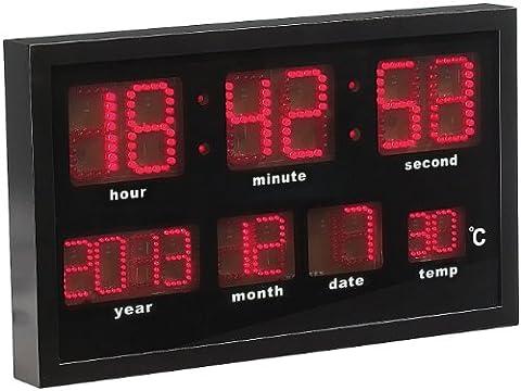Lunartec LED Funk Wanduhren: Multi-LED-Funk-Uhr mit Datum und Temperatur, 412 rote LEDs (Wanduhr mit Digitalanzeige)