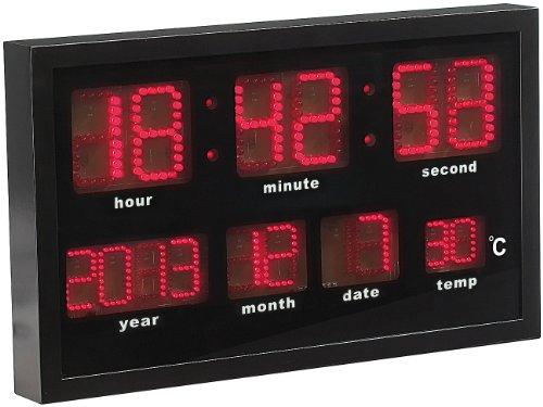 Lunartec Multi-LED-Funk-Uhr mit Datum und Temperatur, 412 rote LEDs