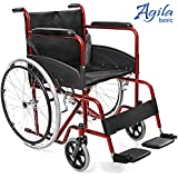AIESI Silla de ruedas plegable ligera con auto propulsión para discapacitados y mayores AGILA BASIC ✔ Reposabrazos y reposapiés fijos ✔ Cinturon de seguridad ✔ Garantía de 24 meses