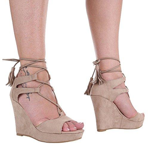 Damen Schuhe, 1337-KL, SANDALETTEN PUMPS KEIL MIT SCHNÜRUNG Beige