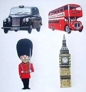 L R London Deluxe Holz Kühlschrankmagnet Geschenk-Set–-