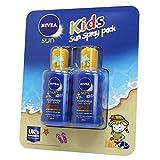 (2 x 200 ml) NIVEA Sun Kids Hidratante Sun spray 50+, Muy Alta Inmediata UVA- UVB Protección (Agua extra resistente)