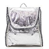 LeahWard Damen Faux Leder Rucksäcke Handtaschen Zip Rucksack für Schule Urlaubsarbeit Fitnessstudio Reise CW1063 (Silber Ketten Rucksack)