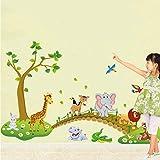 Simpatici Animali della Foresta Che Attraversano Il Ponte Adesivi Murali Cartone Animato per La Camera Scuola Materna Carta da Parati Decorativa Elefante Uccelli Finitura Albero Dimensioni 140X90Cm