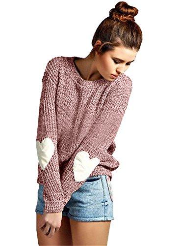 Hier Crewneck Sweatshirt (Futurino Damen Herz Patchwork Elbow Crewneck Marled Strick Pullover)