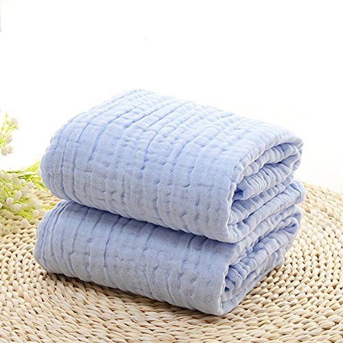 6 strati di garza di cotone ispessiscono nessun agente fluorescente asciugamano ( Colore : Bianca ) Blu