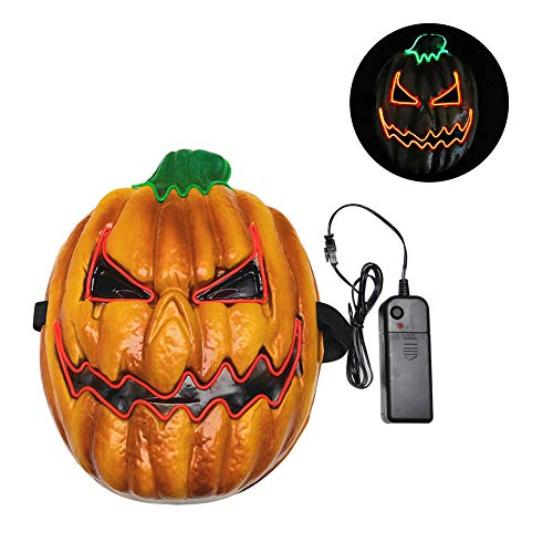 JoyFan Halloween Maske LED Glow Scary Pumpkin Head Leuchten Masken Cosplay Kostüm Für Festival Parties (Scary Pumpkin Kostüm)