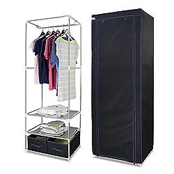 Finether Stoffschrank Garderobe Stoffschrank Faltschrank Kleiderschrank Campingschrank Textilschrank 165 x 60 x 45cm stabil schwarz