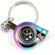 muchkey® Creative Spinning Llavero, llavero, diseño de turbina de coche, modelo Fashion Auto Parte favoritos de ventilador Turbocompresor de Turbo Llavero Anillo Keyfob, Neo Rainbow