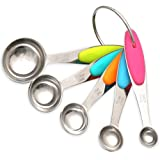 H&S Measuring Spoon Set of 5 Stainless Steel Metal Measure Cup Spoons for Baking Cooking American Kitchen