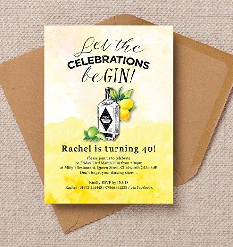 personalisierbar Gin & Tonic Geburtstag Einladungen mit Umschlägen (10Stück)