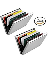 Credit Card Holder For Women & Men (2 Pack) | Slim & Stylish RFID Blocking Stainless Steel Wallet Case Protector...