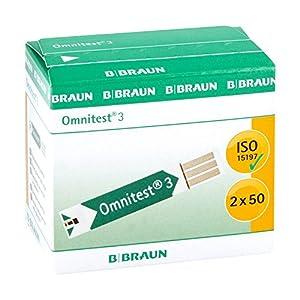 B Braun Omnitest 3 Blutzucker Sensoren Teststreifen, 2 x 50 Stück