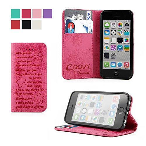 COOVY® Cover für Apple iPhone 5c Case Wallet Schutz Etui mit Kartenfach, Standfunktion + Schutzfolie - Design Smile | Farbe hotpink (Case 5c Wallet)