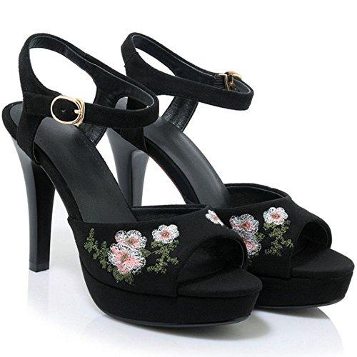 COOLCEPT Damen Mode Knochelriemchen Sandalen Stiletto Peep Toe Plateau Slingback Schuhe Gr SU Schwarz