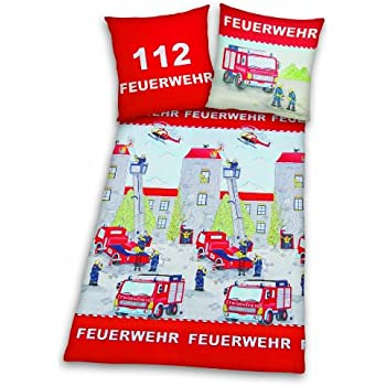 herding 445172050 bettw sche feuerwehr kopfkissenbezug 80 x 80 cm bettbezug 135 x 200 cm. Black Bedroom Furniture Sets. Home Design Ideas