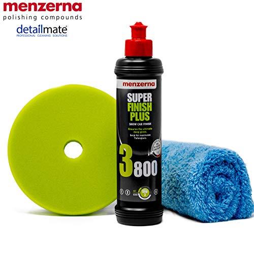 """detailmate Menzerna Autopolitur Set: 3800er Körnung, 250 ml mit passende, Polier Pads: Soft + Medium + Heavy 150 mm / 6.0"""" + Flauschiges Mikrofaser Polierturch 40x40 cm, 450 GSM"""