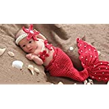 Fashion recién nacido niño niña disfraz de punto bebé Fotografía Props trajes diseño de la Sirenita
