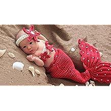 Disfraz de punto para recién nacido, niño, niña o bebé, para posar en fotos de moda, ropa con diseño de sirena