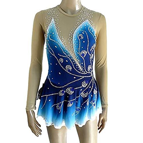 Kmgjc Eiskunstlaufkleid Dress Damenmädchen Blue Halo Dyeing Spandex Micro Elastic Professionelle Wettkampf Skating Wear Handmade Pailletten Langarm Skating-Anzug (Color : Blue, Size : Child8) (Blue Halo Kostüm)