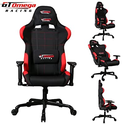 Gt Omega Pro Racing Office Chair Black With Side Red Fabric