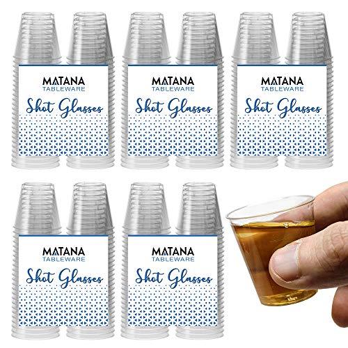 300 Hartplastik Schnapsgläser (30 ml) - Einweg, Wiederverwendbar, Klar wie Glas & Bruchsicher Kunststoff Shotgläser - Einweg-Becher für Schüsse, Wodka-Gelee, Partys, Weihnachten - 100% Recycelbar