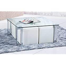 Mesa de centro para salón estructura metálica cromada y cristal translúcido modelo Dalí – Sedutahome