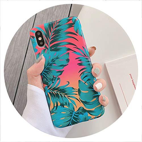 Weinlese-Blatt-Telefon-Kästen für iPhone Xr Xs Max für iPhone 6 6S 7 8 Plus Xs X Matte Soft-Imd Telefon-rückseitige Abdeckung Coque Geschenke, A, für iPhone 6Plus 6SP
