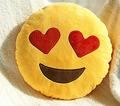 Cute Soft Plush Emoji Yellow Emoticon Smiley Round Cushion Stuffed Toy Doll Pillow - low-cost UK cushion shop.
