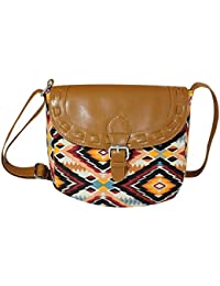 Mabel Tansey Multicolour Convas Sling Bag With PU Flap