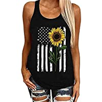 JIER Liquidación Mujeres Girasol Estampado Floral Camisetas sin Mangas Casual O-Neck America Flag Graphic Shirt 4 de Julio Beach Vest Blusa tee