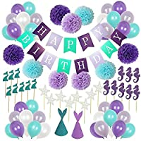 1 Set Mermaid Theme Party Balloons Happy Birthday Party Banners Supplies Decorations