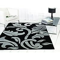 Design moderno, di alta qualità, motivo: damascato vintage-Tappetino, colore: nero/argento, 120 x 170 cm